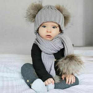 Малыш Дети Детские Hat Мальчик в девочке зимние теплые трикотажные вязания шапочки Hat Cap шарф Множества / BY
