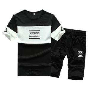 Vêtements d'été pour hommes Ensemble Adolescents Mode Casual T-shirt + Shorts Vêtements Ensembles O-Cou Survêtements Couleur Bleu Marine Noir
