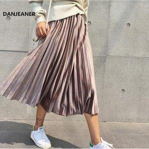 Danjeaner Printemps Femmes Long Metallic Silver Maxi Jupe plissée Jupe mi-longue taille haute Elascity Party Casual Jupe Vintage