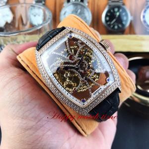 Melhor Edição 8880 B S6 SQT BAG Skeleton Dial Rose Gold Diamante Caso mecânico automático Movimento Mens Watch Brown Leather Strap Relógios