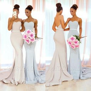 Sirena de marfil Vestidos de dama de honor 2019 Correas de espagueti sexy Parte posterior abierta Tren Tren de dama de honor Invitación de boda árabe Invitación de noche