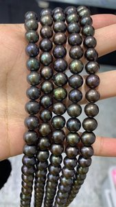 black natural freshwater pearl strands 8-9mm genuine freshwater pearl