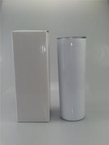 PROMOTION 20 onces Sublimation Skinny Tumbler Blank en acier inoxydable Tumbler bricolage Coupes fuselés à isolation sous vide 600ml voiture Tumbler mugs à café A05