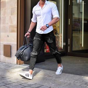 19ss autunno Mens strappato jeans neri Hombres ginocchio Fori designer Jean Pants