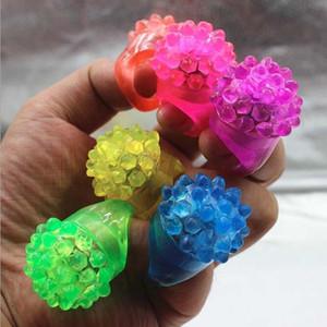 Glowing Bague Bubble Party Rave Favors Jelly souple clignotant LED clignotant coloré doigt Rings doigt Toy clignotant Anneaux Bubble