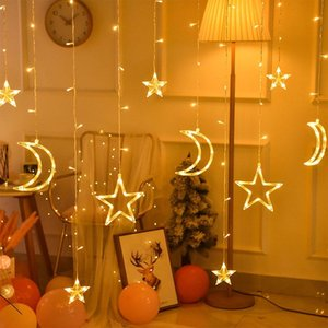 Ins 3.5M 220V LED Moon Star Lamp Christmas Garland String Lights Fairy Curtain Light For Party Bar Wedding Holiday Decoration Y200603