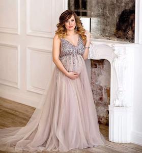 Luxury Maternity Photo Shoot Dresses Empire Waist V Neck Pregnant Women Formal Evening Celebrity Dresses Tulle Crystal Beaded Prom Gowns