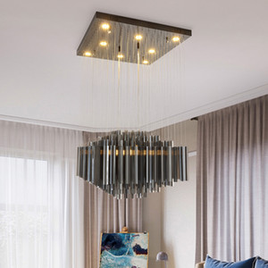New design modern luxury square L 60cm W 60cm Smoky crystal chandels lights led pendant lamp with black plate for dining room island