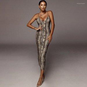 Aderente in abiti Leopard Strap Womens Party Magro Spaghetti abiti sexy con pannelli Moda Femminile guaina abiti delle signore di estate Serpentine