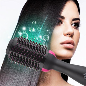 Wholesale 2 IN 1 One Step Hair Dryer Hot Air Brush Hair Straightener Comb Curling brush hair styling tools