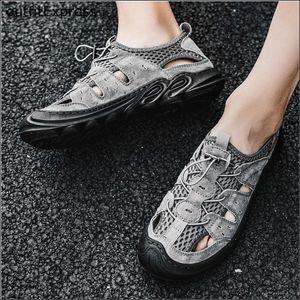 Men Shoes Mens Sandals Summer High Quality Leather Casual Shoes Women Beach Sandals Sandalias Hombre Outdoor Walking Size 38-44