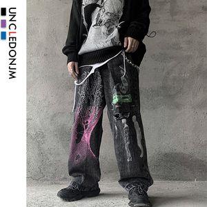 UNCLEDONJM Graffiti Distressed Jeans Biker Jeans Painted Printing Männer Denim-Hosen Hip Hop Harajuku -T06