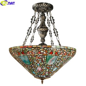 FUMAT Tiffany Style Pendant Lamp Stained Glass Baroque Reverse Chandelier Art House Decor Light The British Royal Family Light