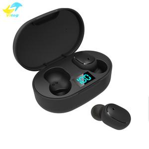 Vitog العالمي للماء TWS E6S في سماعات الأذن اللاسلكية بلوتوث 5.0 LED سماعات الأذن العرض الألعاب سماعات مع هيئة التصنيع العسكري