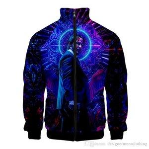3D цифровой печати Джон Wick 3 мужские куртки ворота стойки с длинным рукавом весна Mens Outwear модельер мужские ветровки