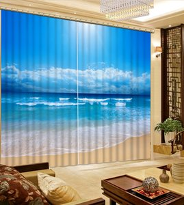 Custom blackout curtains for living room bedroom Sea landscape 3d window curtains 3d stereoscopic home goods curtain