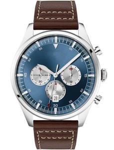 2019 Классические синий циферблат часов для мужчин Аналогового Кварцевых часов с кожаным ремешком 1513709