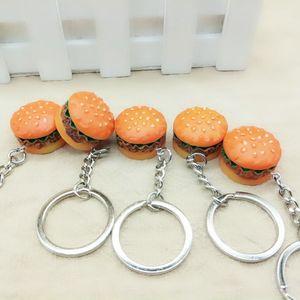 3D الراتنج همبرغر سلسلة المفاتيح البسيطة الأغذية همبرغر مفتاح سلسلة ذهبية بدائل سلاسل المفاتيح مفتاح حلقة يحمل هانغباغ تعليق