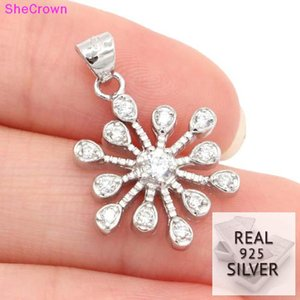 2018 Real 925 Solid Sterling Silver 12ct Cubic Zirconia Gift For Girls Ladies Wedding Pendant 24x17mm