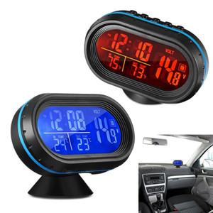 Reloj Digital de luz de fondo del coche monitor de voltaje de reloj termómetro digital del coche con el termómetro y Automotive voltímetro