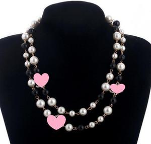 Diseñador suéter largo de la cadena collar de la joyería Maxi collar de perlas flores simulado collar de la mujer de moda regalos Bijoux Femme Navidad