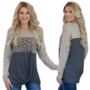 Leopard Stampato Patchwork T-shirt donna sportiva nodo sciolto Twist supera i T Camicia girocollo Pullover manica lunga magliette GGA2855