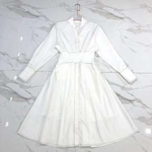 Милан взлетно-посадочной полосы платья 2019 весна лето отворот шеи с длинным рукавом обшитые панелями женское дизайнерское платье бренда же стиль платье 032405