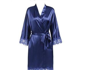 Femmes Sexy Dentelle lambrissé de nuit d'été Kimono couleur solide peignoir Jupettes Garniture de demoiselle d'honneur de mariage mariée Robe