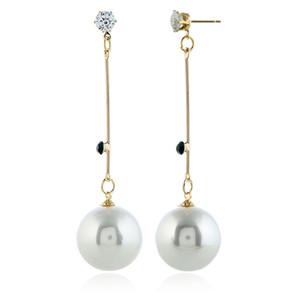 Earrings Simple Baitao temperament long zircon pearl earrings earrings