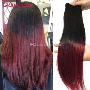 Glamorous Ombre Burgundy Hair Weft 페루 인디언 브라질 스트레이트 싸구려 Ombre Human Hair Extensions 3 검은 색 여성용 번들