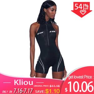 Kliou 2019 Frauen Fitness Spielanzüge Ärmellos Rollkragen Reißverschluss Brief Drucken Patchwork Body Sport Skinny Outfits SH190718