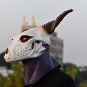 Anime Antike Magus' Bride Elias Ainsworth Magie machen Braut Halloween Cosplay Dämon Geist-Schädel-Kopf voller Latex Maske T191010
