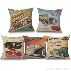 American Retro Cars New York Paris Bicycle Travel Cushion Cover 45X45cm Thick Linen Cotton Pillow Cover sofa chair seat decoration