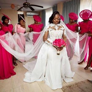 2020 African Plus Size Wedding Dresses With Detachable Train Satin And Lace Sheer Neck Long Sleeve Mermaid Bridal Dress Vestidos De Novi