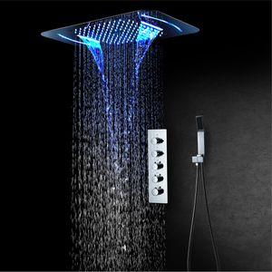 Chuveiro termostática Painel de aço inoxidável LED Chuva Cachoeira Big Cabeça de chuveiro de teto Banheiro Set torneira Wall Mounted Rainfall Unidade Torneiras
