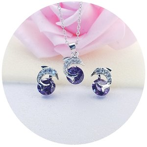Romantic dolphin square with top cubic zircon 925 sterling silver jewelry set for women earrings necklace set