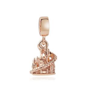 Monili della lega Princess Castle in oro rosa di colore branello di fascino di modo delle donne favoloso design di stile europeo adatto per la collana Pandora