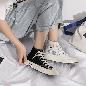 Otoño nueva bota zapatos de lona femeninos de los estudiantes coreanos ins retro zapatos casuales elegantes del estilo de Hong Kong