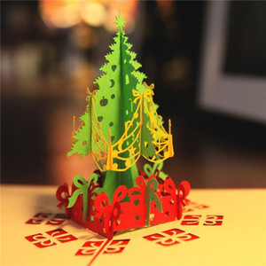 Stereoscopic Artificial Christmas Tree Greeting Card Wish Cards for Friends Relatives Best Wish Christmas Decorations Drop Ship