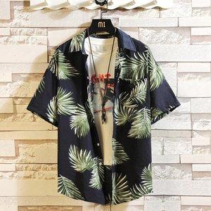 Мужская Повседневная рубашка с коротким рукавом Сыпучие Большой размер Parklees тропических печати Мужчины Рубашка гавайская Ретро цветочные Мужчины Плюс Размер Рубашка HH50CS