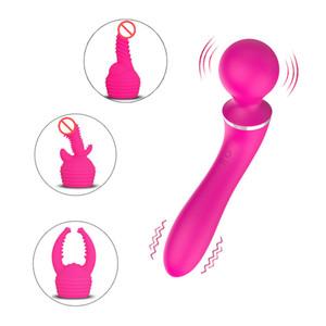 USB recarregável massagem inteligente vibrador mudo g spot massageador vajinal dual cabeça vibrador fêmea masturbação sexo brinquedos para mulheres qhbxa