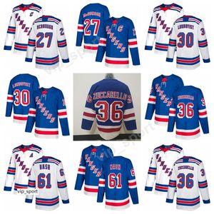 New York Rangers 30 Henrik Lundqvist Jersey Hockey 36 Mats Zuccarello 61 Rick Nash 27 Ryan McDonagh Maglie qualità cucita blu