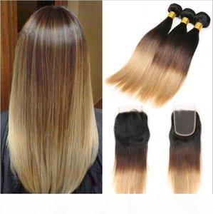 # 1B 4 27 biondo miele radici dei capelli Ombre brasiliana 3Bundles Con chiusura del merletto scuro Tre Tone serica Ombre dei capelli tesse con chiusura