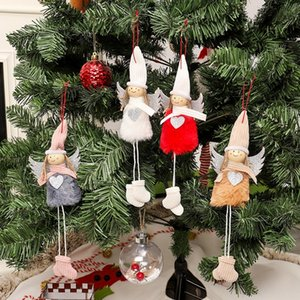 Christmas Holiday Gift Decorations Plush Angel With Glitter Heart Christmas Pendant Decorative Hanging Figurine Ornaments