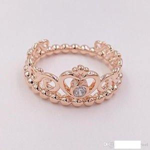 Rose Gold Plated & 925 Sterling Silver Ring My Princess Tiara European Pandora Style Jewelry Charm Crown Ring Gift 180880CZ