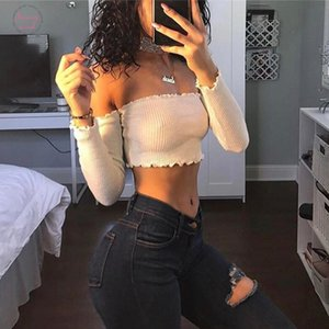 Off Shoulder Long Sleeve T Shirt Women Crop Top Stringy Selvedge Party Bustier Crop Top Elastic Tube Club Women Top