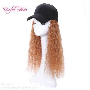 Вязаная шерстяная шапочка париков Baseball Hat трикотажные шерсти шляпы Синтетический Теплый волос Длинные Волнистые Warms волос вязаные шерсти Hat Cap новый стиль шапка теплая волосы