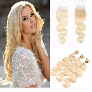 Brazilian Straight Body Wave Human Hair Weaves 3 Bundles 613 Blonde Human Hair Bundles With Closures Frontals Honey Platinum Virgin Hair