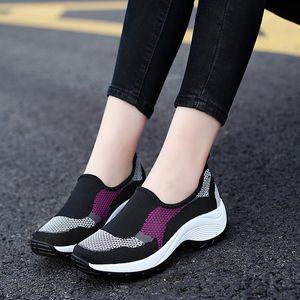 ZHENZU 통기성 여성 야외 산책 쿠션 여성 스포츠 조깅 미끄럼 방지 운동화 높이 증가 신발 신발을 실행