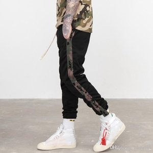 Crazy2019 남자 위장 측면 스트라이프 조깅 바지 성인 운동 블랙 트랙 바지 운동복 쥬얼리 힙합 Streetwear JZH0726